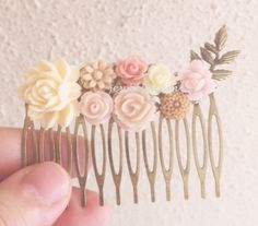 Blush Pink Wedding Hair Comb Romantic Bridal Hair Accessory Soft Pink Headpiece Pastel Pink Warm Pale Pink Floral Hair Slide PM WR