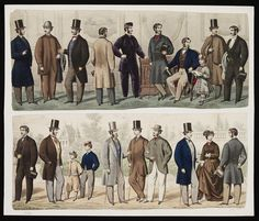 plate 1864 Collection of men with a woman and children. Men's Fashion Plate Collection of men with a woman and children. Victorian Era Fashion, Victorian Men, Vintage Fashion, Edwardian Era, Fashion History, Men's Fashion, Paper Fashion, Mens Diamond Jewelry, Civil War Dress