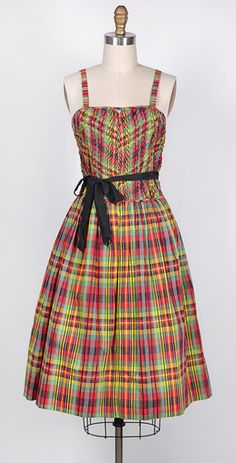 VINTAGE 1950S MADRAS PLEATED PARTY DRESS