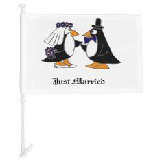 Funny Penguin Bride and Groom Wedding Car Flag #wedding #carflag #penguins #funny #birds And www.zazzle.com/allsmilesweddings*