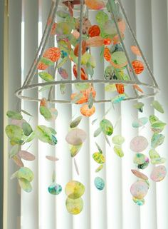 wax paper and crayon chandelier.  and you thought you were too old to play with crayons!