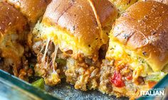 Italian Sausage and Pepper Sliders are meaty, cheesy and gooey. They are the ultimate comfort food for game day, get-togethers of just a good hearty meal! Recipes With Bulk Sausage, Italian Sausage Recipes, Italian Sausage Sandwich, Sausage Sandwiches, Sausage And Peppers, Stuffed Peppers, Slider Sandwiches, Deli Sandwiches, Wow Recipe