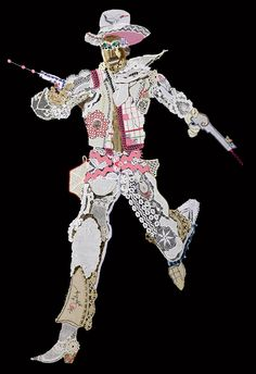 Cowboy #7 (La Vie en Rose) Vintage lace and mixed media 46 x41 inches, 2013