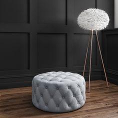 Xena Large Quilted Button Pouffe in Light Grey Velvet Velvet Furniture, Green Furniture, Colorful Furniture, Bedroom Furniture, Room Paint Colors, Living Room Colors, Living Room Grey, Living Rooms, Duck Egg Living Room