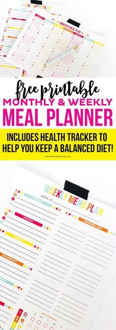 Use this FREE Printable Meal Planner to keep track of your menu plan and health goals! Includes printables for monthly and weekly tracking! Menu Planner Printable, Monthly Meal Planner, Meal Planner Template, Meal Planning Printable, Weekly Menu, Planner Pages, Monthly Calendars, Planner Stickers, Planner Diy