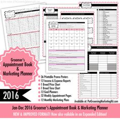 The NEW 2016 Dog Grooming Appointment Book & Marketing Planner printable has just been released. Available at: http://www.petgroomingmarketingkit.com/dog-grooming-appointment-book.html