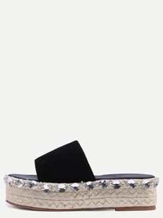 15fca27a009 Black Peep Toe Rhinestone Thick-soled Espadrille Slippers EmmaCloth-Women  Fast Fashion Online