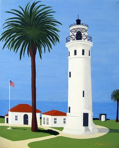 Point Vicente Lighthouse Painting  - Point Vicente Lighthouse Fine Art Print