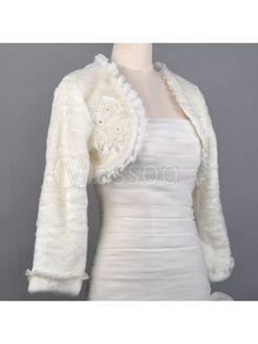 Cheap Long Sleeved Faux Fur Winter Bridal Jacket