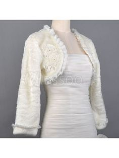 Cheap Long Sleeved Faux Fur Winter Bridal Jacket