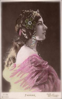 Geraldine Farrar, Famous American Opera Star Beautiful Profile Portrait with Headdress by Reutlinger, Original Rare 1900s French Postcard