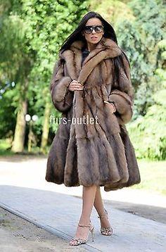 Nouveau BARGUZIN russe sable libertin manteau fourrure Clas Veste Vison Renard Lynx Chinchilla