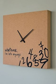 Cute clock idea. Love the Alice in Wonderland numbers