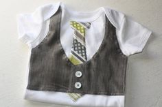 I did this with a brown vest and a brown and blue tie. If youre going to do this use a Carter's onesie. I used Gerber and they were too thin so it seems cheap