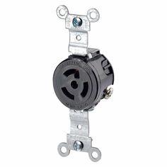 15 Amp 277-Volt Industrial Grade Locking Receptacle, Black