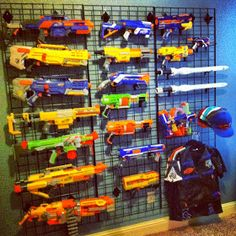 Mary, Mary, Quite Contemporary: Nerf Gun Wall - Boys Preen Bedroom                                                                                                                                                      More