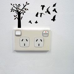 Fun and playful landscape of tree and birds wall sticker for creative power sockets and light switches! Please note, our range of stickers for power points is created with adults and older children in. Simple Wall Paintings, Creative Wall Painting, Wall Painting Decor, Creative Walls, Diy Painting, Wall Decals For Bedroom, Bathroom Wall Decor, Bedroom Fun, Mirror Bathroom