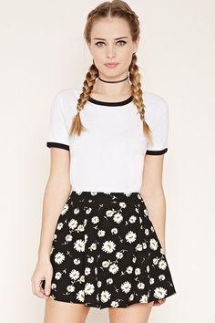 Daisy Print Skater Skirt #SkaterSkirts
