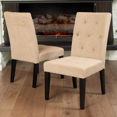 Dacey Light Brown Fabric Dining Chair (Set of 2)