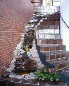 Staircase waterfall with small pond.  LOVE <3