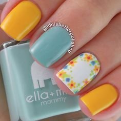 """Instagram media by lifeisbetterpolished - How pretty are these @ellamilapolish polishes together? Here's """"Wheels on the Bus"""" and """"Don't be Blue"""" with an accent inspired by @mrcandiipants Topped with @glistenandglow1 HK Girl topcoat!"""