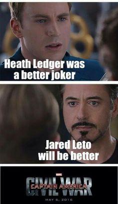 Civil war Marvel Captain America ❤️ Vs iron Man The joker Heath Ledger Jared Leto