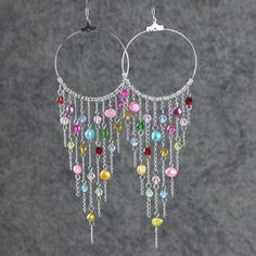 Colorful dangleing chandelier big hoop Earrings por AniDesignsllc, $15.95