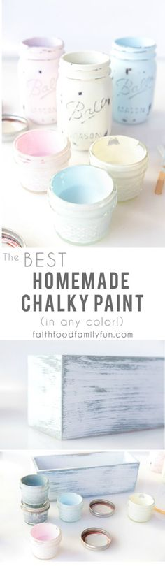 BEST Homemade Chalk Paint Recipe with Infinite Color Options (Calcium Carbonate) Distressed Furniture calcium carbonate chalk Color homemade Infinite Options Paint Recipe Diy Chalk Paint Recipe, Make Chalk Paint, Chalk Paint Dresser, Homemade Chalk Paint, Chalk Paint Projects, Chalk Paint Furniture, Diy Projects, Chalk Crafts, Craft Paint