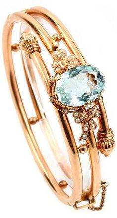 Bangle with aquamarine and pearls, RG 375/000, England approx. 1880... | Dans la vente Bijoux Anciens & Argenterie à Henry's Auktionshaus