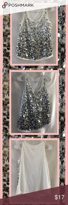 Flirty and fun sequin tank NWOT white tank with silver sequins attached on front in an ombré fashion. Never actually worn- Double layer front so not see through. Last picture to show ombré effect. First three are of actual shirt. Labeled as J18- fits women's SM/M. Tops Tank Tops