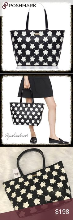 """Kate Spade New York Black & White Floral Tote Kate Spade 100% authentic. New with tags. Colors:  black/bone festive floral 11.3""""h x 15.6""""w x 6.2""""d drop length: 9.1"""" MATERIAL saffiano textured grainy vinyl with vachetta split trim capital kate jacquard lining 14-karat light gold plated hardware zip top closure dual interior slide pockets and interior zipper pocket. Gold staple Kate Spade NY signature. kate spade Bags Totes"""