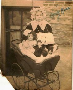 Old Vintage Antique Photograph Adorable Little Girl with Dolls in Carriage