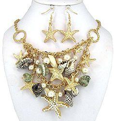 Pearl Star Fish Real Shell Imitation Pearl, Nautical Gold... 27.99