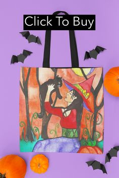 When black cats are seen it´s near Halloween! Great witchy design. Based on my original watercolor illustration (c) Niina NiskanenA spacious and trendy tote bag to help you carry around everything that matters. Large Bags, Small Bags, Halloween Cat, Watercolor Paintings, Watercolor Illustration, Medium Bags, Cotton Tote Bags, Are You The One, Cat Lovers
