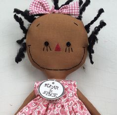 cloth rag doll African American handmade in pink by SugarAndSpice