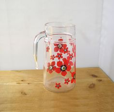 Vintage glass water jug ice tea cocktail lemonade fruit juice  Pimm's cup pitcher 1970s boho chic party margarita red flowers retro kitchen by IrishBarnVintage on Etsy