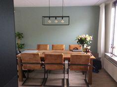 Eettafel teakhout,  cognac leren stoelen, industriële lamp, kleur muur early dew. Decor, Relaxation Room, Interior, Brown Sofa Living Room, Sunroom Decorating, House Styles, Home Decor, House Interior, Home And Living
