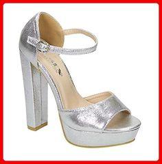 310f7cfba77248 Damen Riemchen Abend Sandaletten High Heels Pumps Metallic Look Peep Toes  Party Schuhe Bequem 038 (