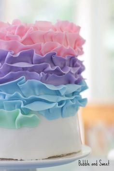 Bubble and Sweet: How to make a Pastel Rainbow Ruffle Cake (fondant)   cake decorating ideas