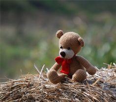 amigurumi bear handmade plushie bear with red bow by crochAndi