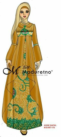 Desain baju modifikasi batik. Model Dress Batik, Batik Dress, Batik Fashion, Hijab Fashion, Fashion Dresses, Mode Abaya, Mode Hijab, Turkish Hijab Style, Simple Long Dress