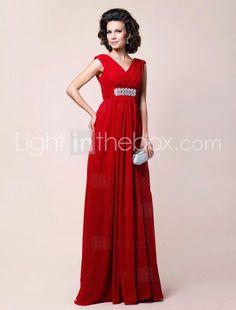 A-line V-neck Floor-length Draped Chiffon Mother of the Bride Dress $199