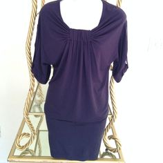 Navy knit with studs tonic / dress Made in France. soft stretch knit fabric. Stud detailing on the sleeves.. can be worn as a min dress or tunic. Dresses Mini