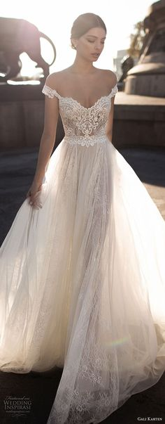 Gali Karten 2017 wedding dress with off the shoulder sweetheart neckline heavily embellished bodice tulle skirt romantic soft a line.