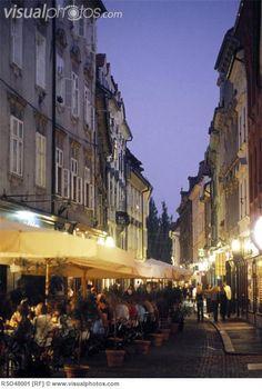 Sidewalk Cafe at night.  Old Town Ljubljana, SLOVANIA