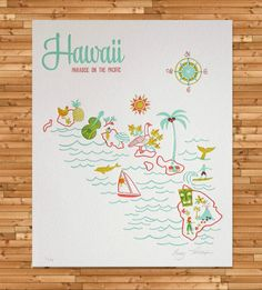Vintage-Inspired Hawaii Map Print by Paper Parasol Press on Scoutmob Shoppe. Cool print to hang up for inspiration. Vintage Hawaii, Oui Oui, Letterpress Printing, Vintage Tea, Travel Posters, Illustrations Posters, Making Ideas, Vintage Inspired, Design Inspiration