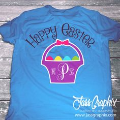 Easter Basket Monogrammed shirts. An original Easter Shirt. – Brand New 2015 Easter design - Monogrammed Easter shirts with a monogrammed Easter Basket. This custom Easter shirt is available in youth & adult sizes. #EasterBasket #Easter #initials