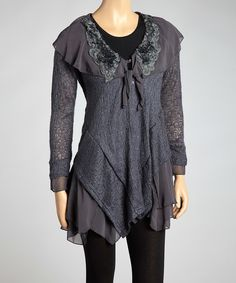 Look at this Pretty Angel Dark Gray Ruffle Linen-Blend Asymmetrical Tunic on #zulily today!