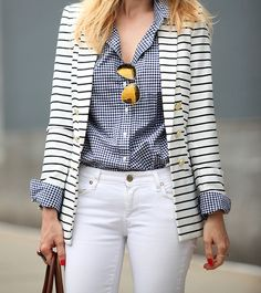 White Jean ~ Navy Gingham Shirt ~ Striped Blazer