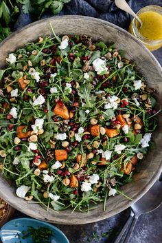 This Sweet Potato Wild Rice Arugula Salad is so hearty! Fall in a bowl pretty much sums up this gorgeous, nutritious and filling salad. Vegetarian Recipes, Healthy Recipes, Scd Recipes, Healthy Dinners, Recipies, Cooking Wild Rice, Arugula Salad Recipes, Wild Rice Salad, Boite A Lunch